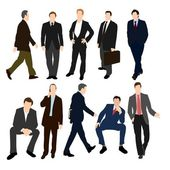 Set of Men in Suits — Stockvektor