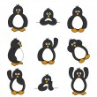 Cute Penguin Set — Stock Vector
