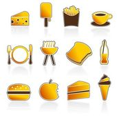 Summer Food and Drink Icons — Stock Vector