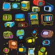 Stock Vector: Vintage TVs collection