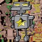 Funny Cartoon Robot (vector) — Stock Vector