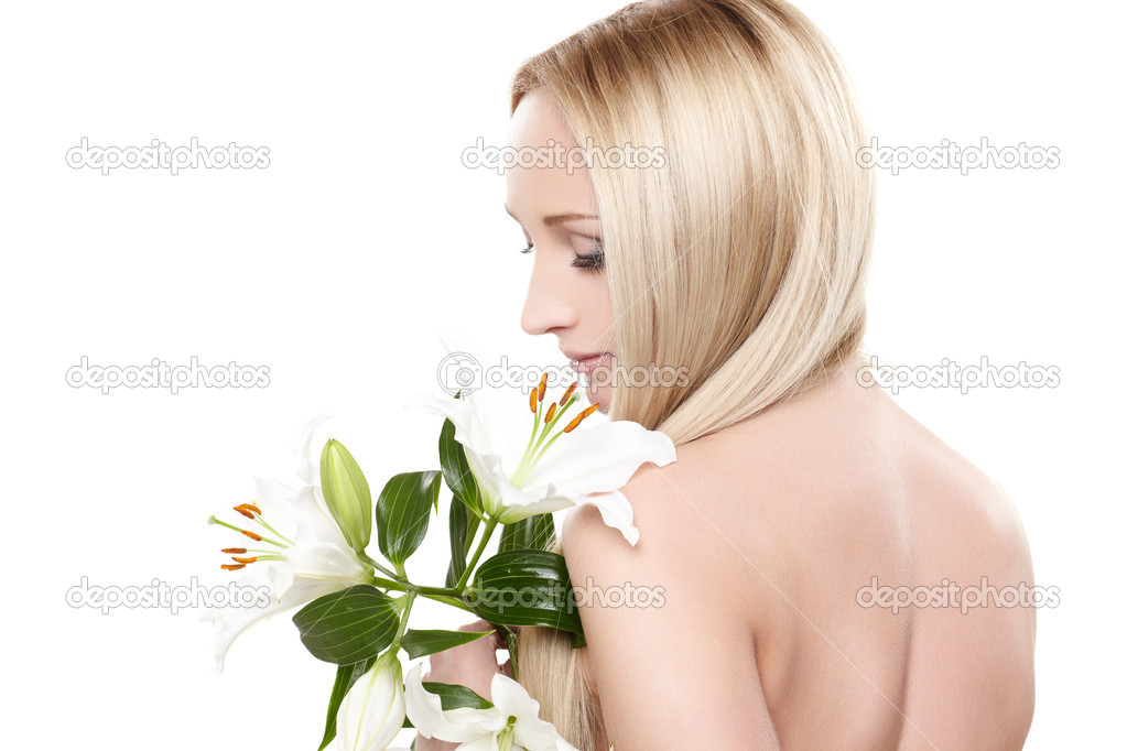 Closeup portrait of female model holding white orchid — Stock Photo #5485520