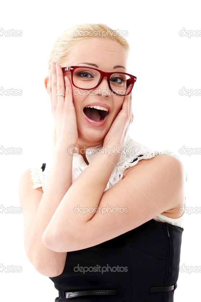 Young lady in glasses on white background — Stock Photo #6365151