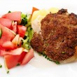 Cutlet with vegetables — Stock Photo