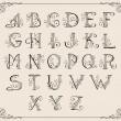 Calligraphic alphabet — Stock Vector