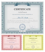 Multicolored detailed certificates — Stok Vektör