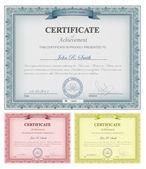 Veelkleurige gedetailleerde certificaten — Stockvector