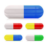Multicolored pill capsules — Stock Vector
