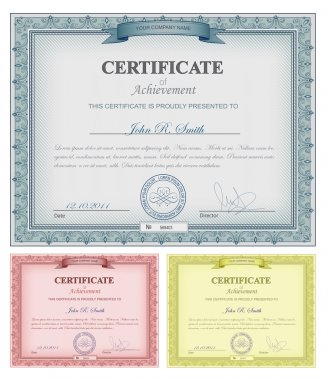 Multicolored detailed certificates