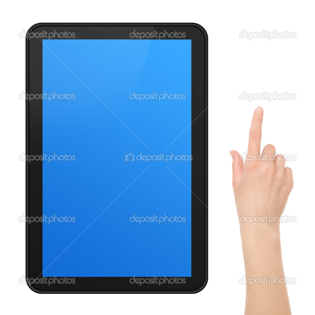 Interactive Touch Screen Tablet with female hand. Include clipping path for hand and 3 clipping path for screen tablet (outer, inner blue, inner black) for easy  Stock Photo #5406766
