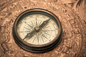 Antique Compass on Map — Stock Photo
