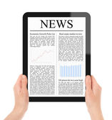 Reading News on Tablet PC — Stock Photo