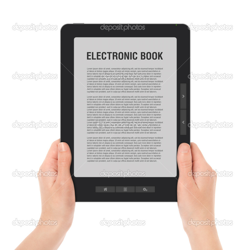Females hands holding portable e-book reader with two clipping path for screen and book with hands. LOREM IPSUM text on e-book screen. XXXL size, ultra quality. — Stock Photo #5800072