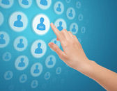 Hand Touch Social Media Icon — Stock Photo