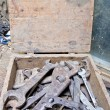 Stock Photo: Old tools in wooden box