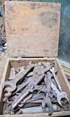 Old tools in wooden box — Stock Photo