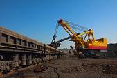 Excavator and open goods trucks — Stock Photo