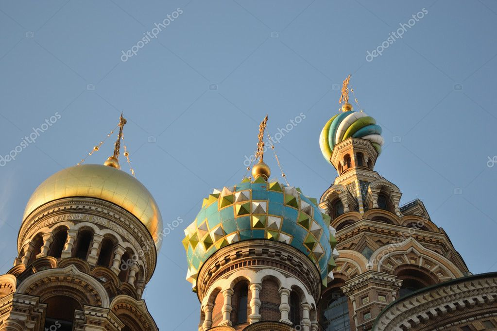 Domes of Church of the Savior on Blood in St.Petersburg, Russia  — Stock Photo #5611994