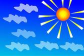 Abstrakte himmel hintergrund mit wolken und sonne — Stockvektor