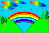 Landscape with rainbow. art illustration. — 图库矢量图片