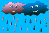 云男孩和云-女孩,快乐雨 — 图库矢量图片