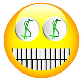 Dollar emoticon — Vector de stock