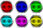 Crome colorful web buttons — Stock Vector