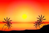тропический пляж закат — Cтоковый вектор