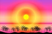 Coucher de soleil plage tropicale — Vecteur