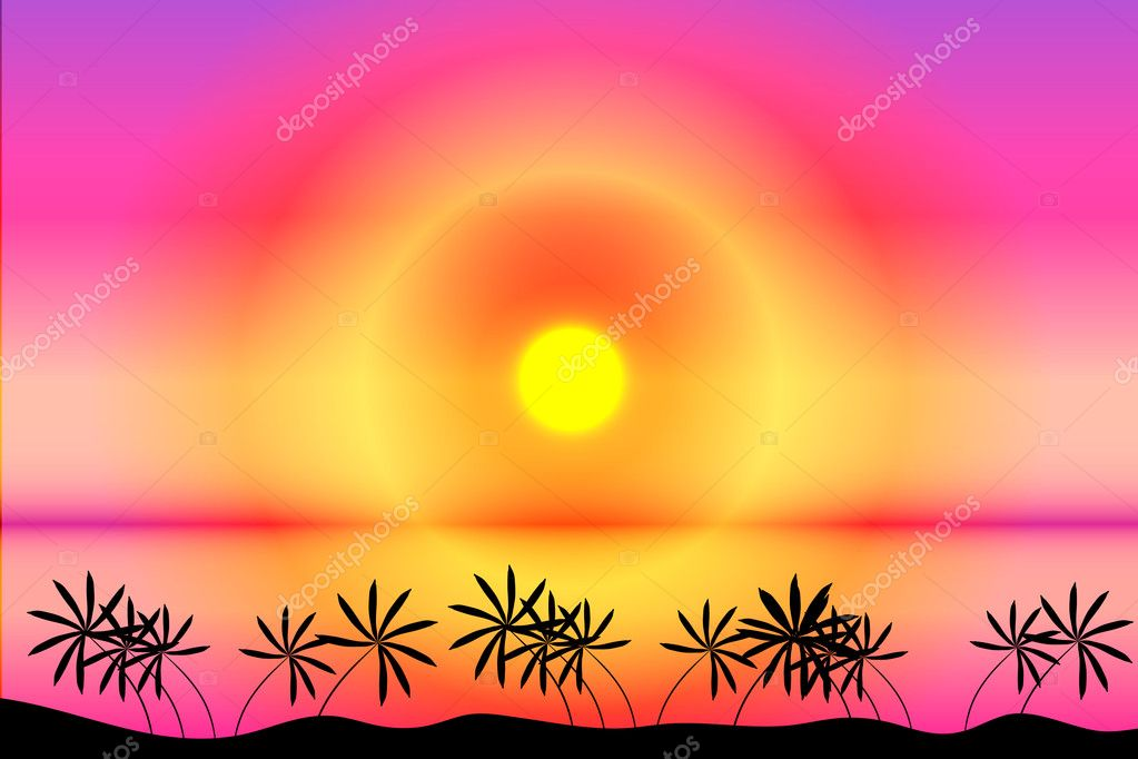 Sunset. Tropical beach. Palms. Vector art illustration  Stock Vector #6071371
