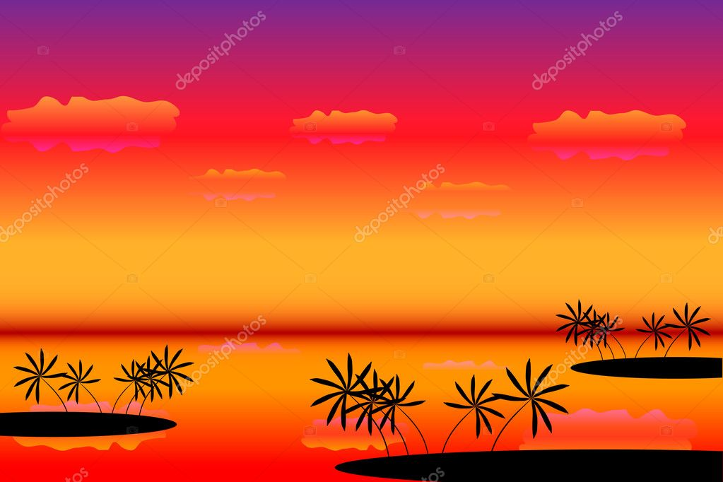 Sunset. Tropical beach. Palms. Vector art illustration — Stock Vector #6071478