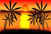 Puesta de sol tropical playa — Vector de stock