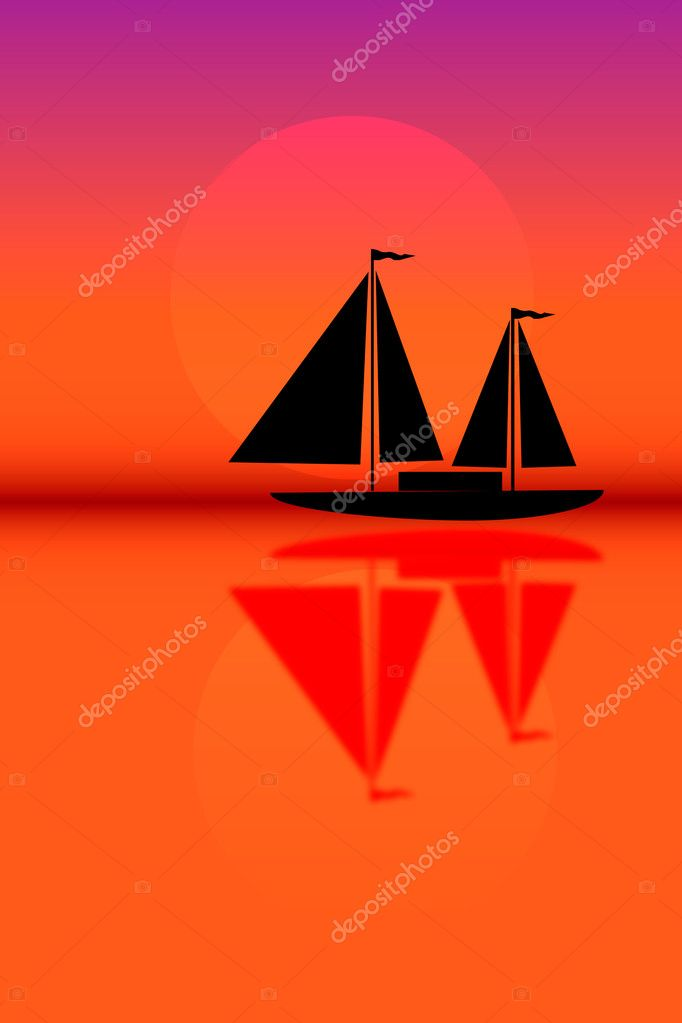 Silhouette of sailboat sailing on the background of the solar disk. — Stock Vector #6080401