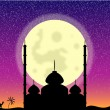 Silhouette of mosque in moon night - Stock Vector