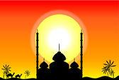 Sylwetka meczetu o zachodzie słońca — Wektor stockowy