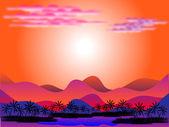 Oasis en el desierto al amanecer — Vector de stock