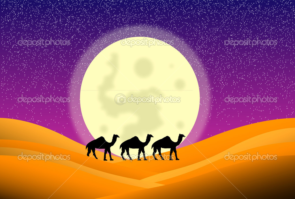 Night in desert with camels and big moon — Stock Vector #6115419