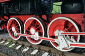 Wheels of the old steam locomotive — Stock Photo