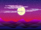 Desert, night landscape — Stock Vector