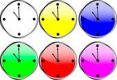 Clock circle icons — Stock Vector