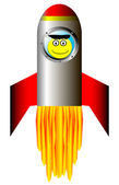 Starting rocket with happy astronaut — Stock Vector