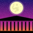 Greek temple at night — Stock Vector