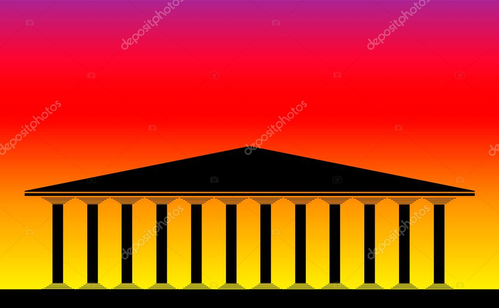Greek temple at sunset background -  vector illustration for design — Stock Vector #6277816