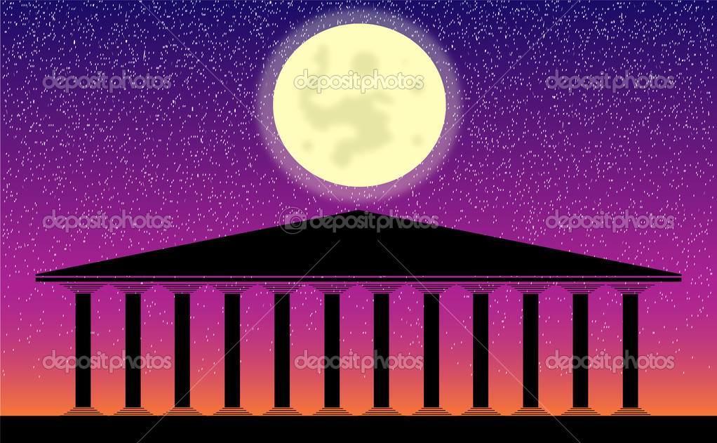 Greek temple at night-  vector illustration for design — Stock Vector #6277838