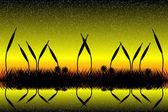 Lake scen med gräs silhuett i solnedgången — Stockvektor