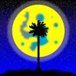 Royalty-Free Stock Vector Image: Silhouette of a tropical island at night