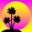 Silhouette of a palm trees at sunset — Stock Vector