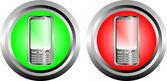 Zwei schaltflächen mit telefon — Stockvektor
