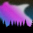 aurora vettoriale polaris sulla foresta — Vettoriale Stock