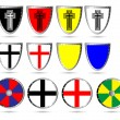 Set of color medieval  shields — Stock Vector